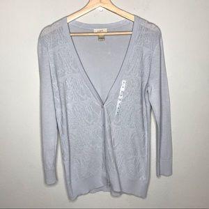 LOFT light gray button down cardigan NWOT